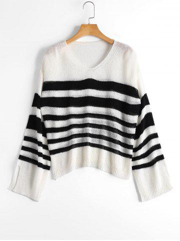 Fancy Slit Sleeve V Neck Striped Sweater - ONE SIZE WHITE AND BLACK Mobile