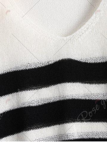 Buy Slit Sleeve V Neck Striped Sweater - ONE SIZE WHITE AND BLACK Mobile