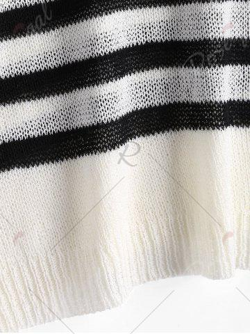 Best Slit Sleeve V Neck Striped Sweater - ONE SIZE WHITE AND BLACK Mobile
