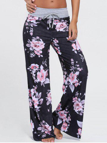 High Waist Floral Wide Leg Pants - Black - L