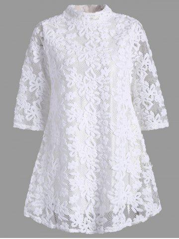 Latest Overlay Mock Neck Min Lace Dress WHITE S