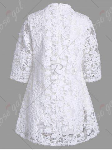 Best Overlay Mock Neck Min Lace Dress - M WHITE Mobile