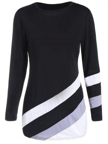 Shops Long Sleeves Tunic Color Block T-shirt - S BLACK Mobile