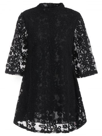 Overlay Mock Neck Min Lace Dress - Black - S