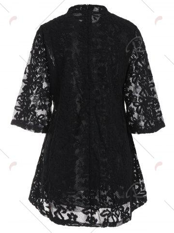 Latest Overlay Mock Neck Min Lace Dress - S BLACK Mobile