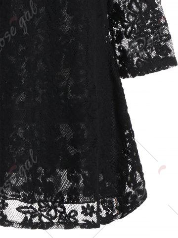 New Overlay Mock Neck Min Lace Dress - S BLACK Mobile
