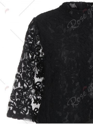 Affordable Overlay Mock Neck Min Lace Dress - S BLACK Mobile