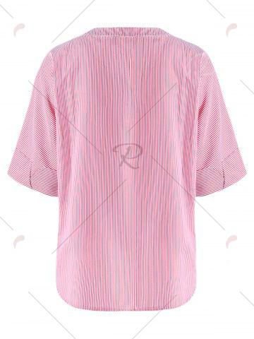 Cheap Striped Embroidery High Low Hem Blouse - M PINK Mobile