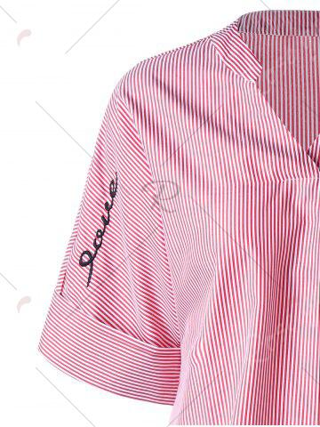 Outfit Striped Embroidery High Low Hem Blouse - M PINK Mobile