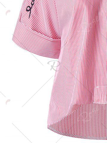 Online Striped Embroidery High Low Hem Blouse - M PINK Mobile