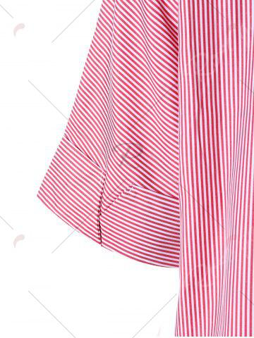 Latest Striped Embroidery High Low Hem Blouse - M PINK Mobile