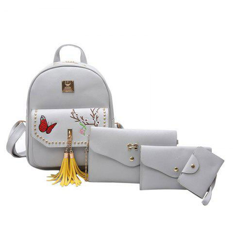 Outfits Tassels Embroidery Studded Backpack Set GRAY
