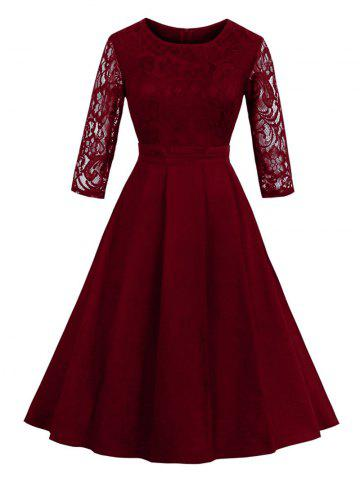 Best Vintage Lace Panel Fit and Flare Dress - M WINE RED Mobile