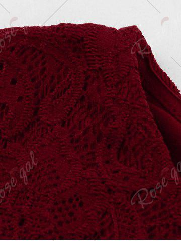 Outfits Vintage Lace Panel Fit and Flare Dress - M WINE RED Mobile