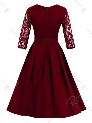 Discount Vintage Lace Panel Fit and Flare Dress - M WINE RED Mobile