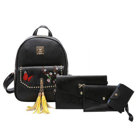 Online Tassels Embroidery Studded Backpack Set - BLACK  Mobile