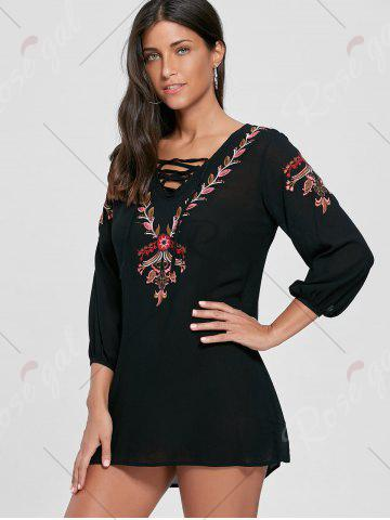Chic Lace-up Embroidered Shift Tunic Dress - S BLACK Mobile