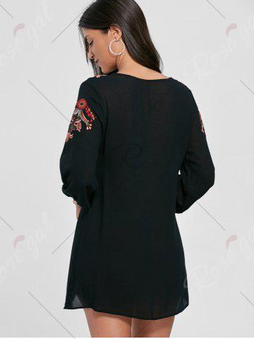 Affordable Lace-up Embroidered Shift Tunic Dress - S BLACK Mobile