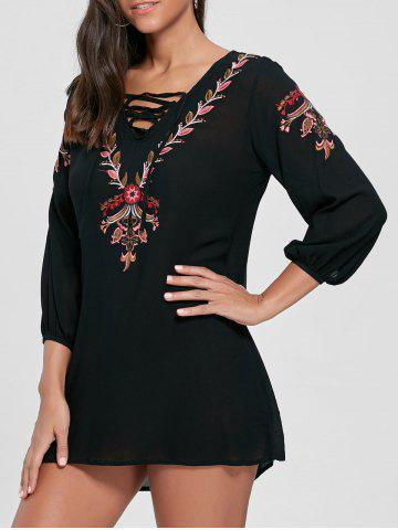 Buy Lace-up Embroidered Shift Tunic Dress - S BLACK Mobile