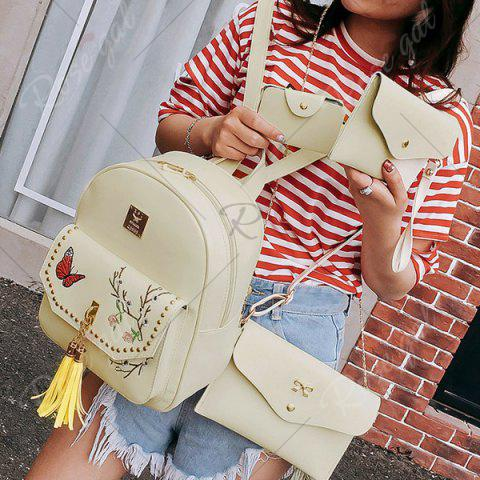Chic Tassels Embroidery Studded Backpack Set - PALOMINO  Mobile