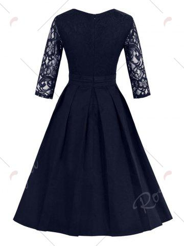 Buy Vintage Lace Panel Fit and Flare Dress - 2XL PURPLISH BLUE Mobile