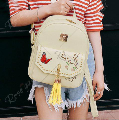 Discount Tassels Embroidery Studded Backpack Set - PALOMINO  Mobile