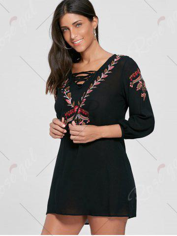 Discount Lace-up Embroidered Shift Tunic Dress - S BLACK Mobile