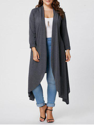 Best Plus Size Maxi Asymmetric Front Open Cardigan - XL GRAY Mobile