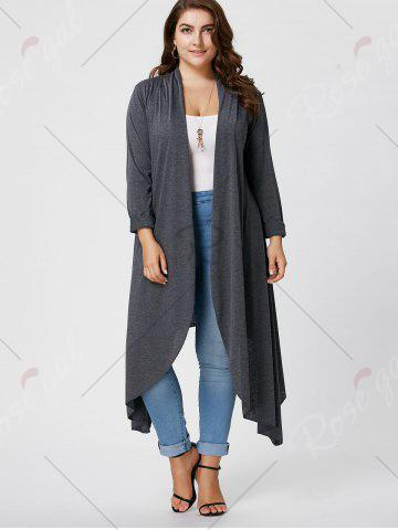 Shops Plus Size Maxi Asymmetric Front Open Cardigan - XL GRAY Mobile