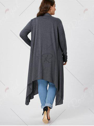 Discount Plus Size Maxi Asymmetric Front Open Cardigan - XL GRAY Mobile