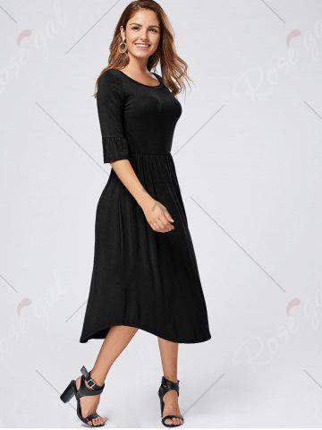 Outfits Ruffle Sleeve Jersey Midi Dress - S BLACK Mobile