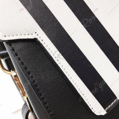 Outfit Print Metal Embellished Faux Leather Handbag - BLACK WHITE  Mobile
