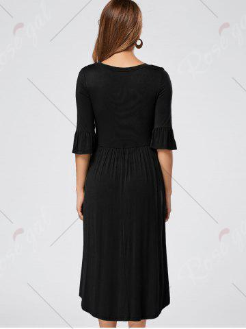 Discount Ruffle Sleeve Jersey Midi Dress - S BLACK Mobile