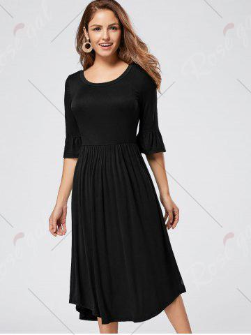 Outfit Ruffle Sleeve Jersey Midi Dress - S BLACK Mobile