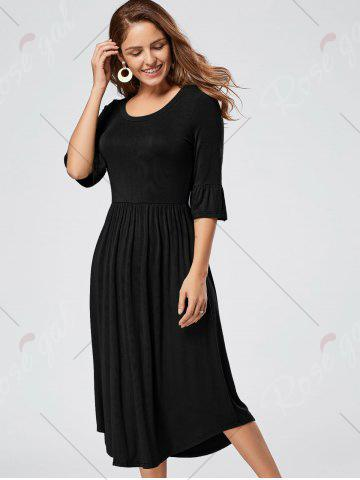 Chic Ruffle Sleeve Jersey Midi Dress - S BLACK Mobile