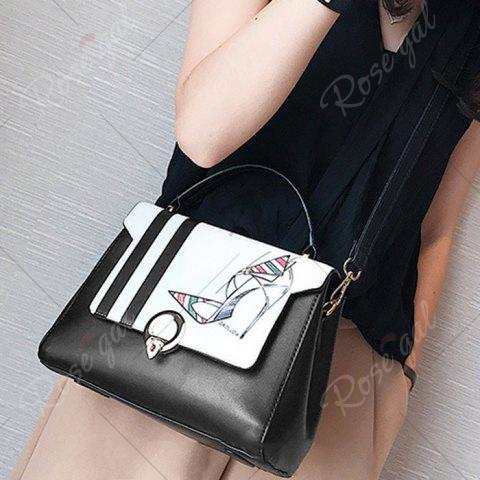 Outfits Print Metal Embellished Faux Leather Handbag - BLACK WHITE  Mobile