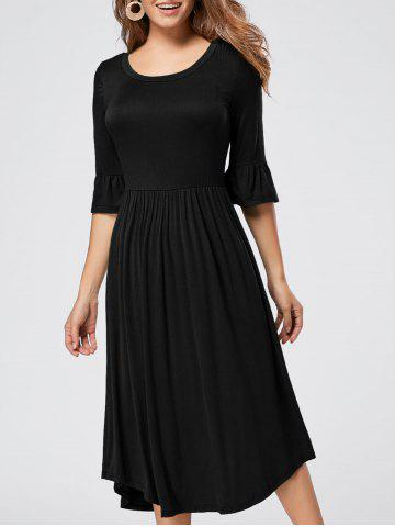 Shops Ruffle Sleeve Jersey Midi Dress - S BLACK Mobile