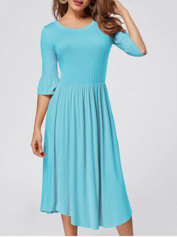 Chic Ruffle Sleeve Jersey Midi Dress - S BLUE Mobile