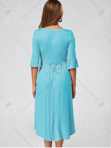 Affordable Ruffle Sleeve Jersey Midi Dress - BLUE XL Mobile