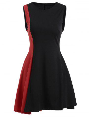 Trendy Asymmetrical Color Block Mini Dress - L BLACK AND RED Mobile