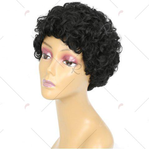 Trendy Short Side Bang Shaggy Curly Synthetic Wig - BLACK  Mobile