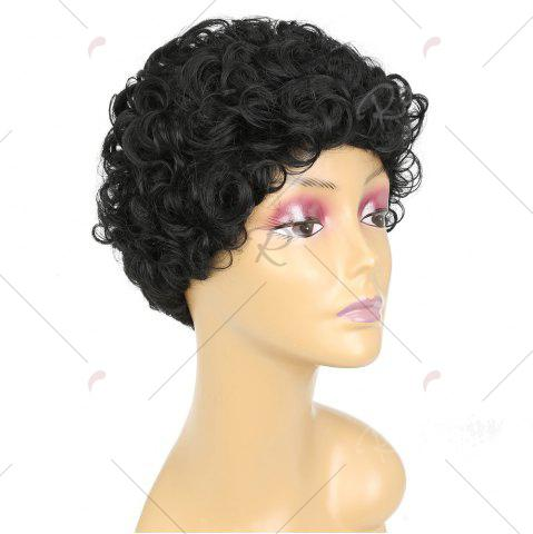 Fancy Short Side Bang Shaggy Curly Synthetic Wig - BLACK  Mobile