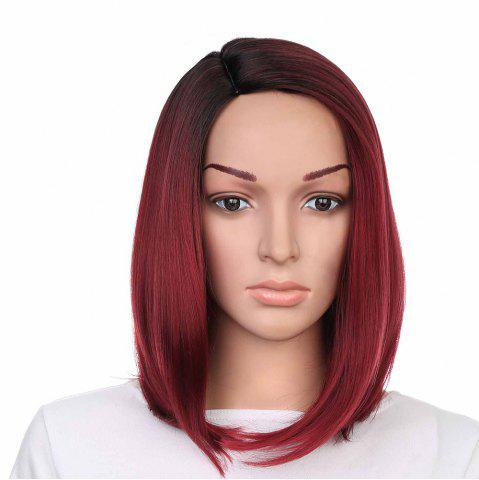Outfit Medium Side Part Colormix Ombre Straight Bob Synthetic Wig - BLACK AND RED  Mobile