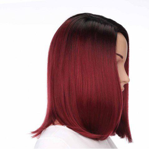 Latest Medium Side Part Colormix Ombre Straight Bob Synthetic Wig - BLACK AND RED  Mobile