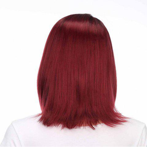 New Medium Side Part Colormix Ombre Straight Bob Synthetic Wig - BLACK AND RED  Mobile