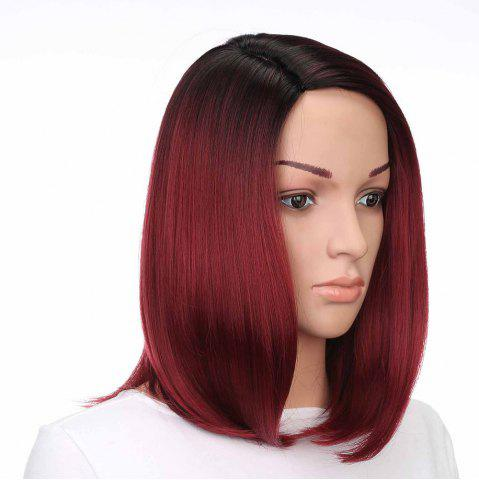 Online Medium Side Part Colormix Ombre Straight Bob Synthetic Wig - BLACK AND RED  Mobile