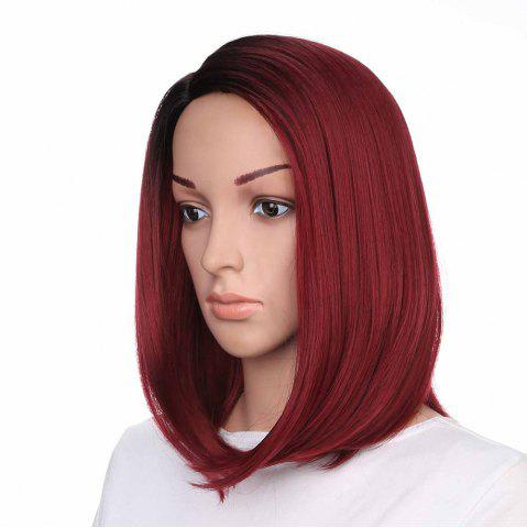 Affordable Medium Side Part Colormix Ombre Straight Bob Synthetic Wig - BLACK AND RED  Mobile