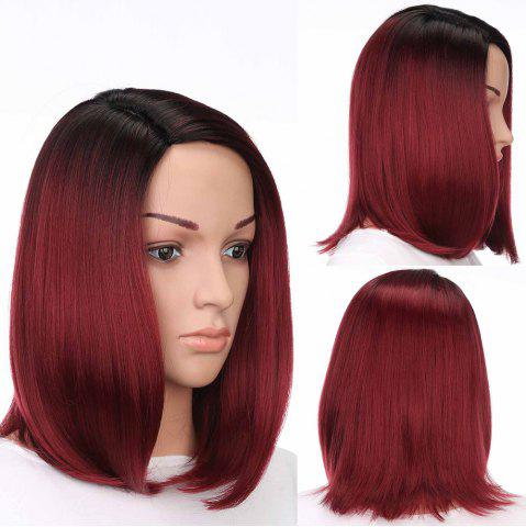 Shop Medium Side Part Colormix Ombre Straight Bob Synthetic Wig - BLACK AND RED  Mobile