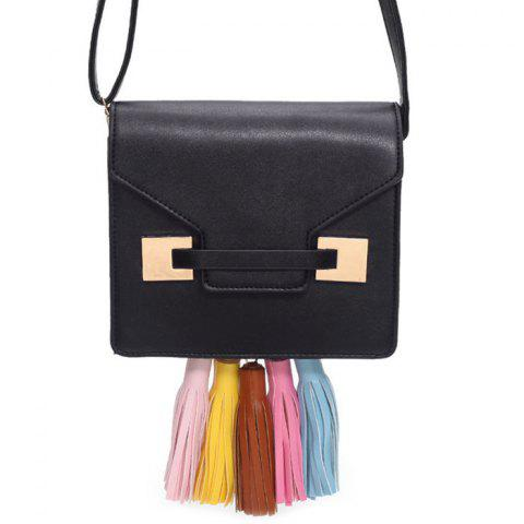 Online Metal Detail Tassels Crossbody Bag - BLACK  Mobile