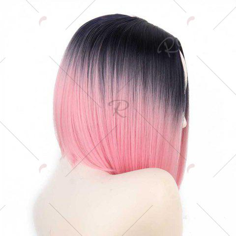 Outfit Short Center Part Straight Ombre Inverted Bob Synthetic Wig - BLACK AND RED  Mobile